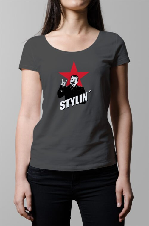 Stylin ladies Tshirt - charcoal