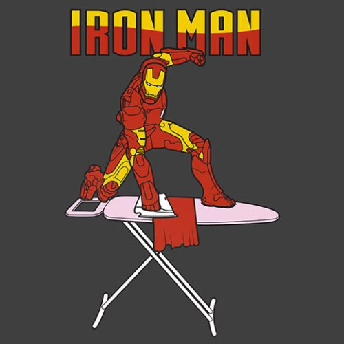 iron man ironing superhero spoof t-shirt