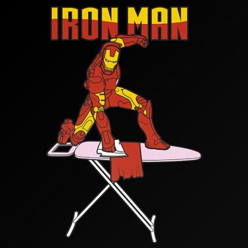 funny iron man superhero spooof t-shirt
