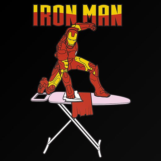 funny iron man superhero spooof t-shirt