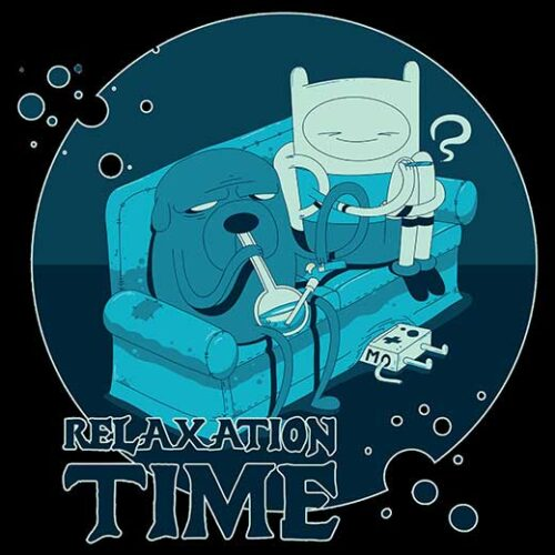 relaxation time adventure time black t-shirt fin and jake