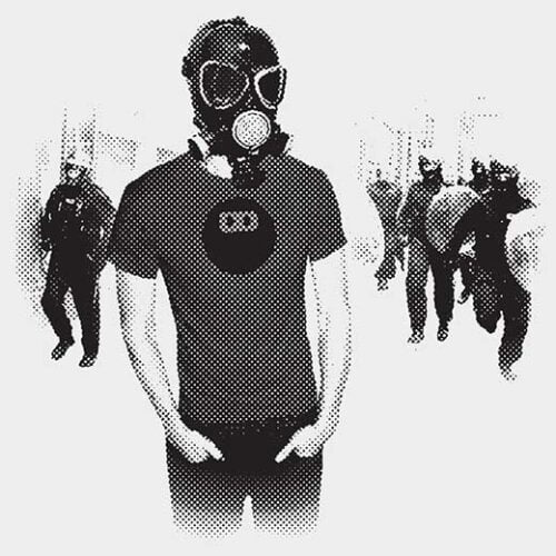 man in front of a riot squad police protest t-shirt