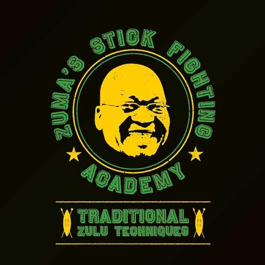 parody political jacob zuma stick fighting t-shirt
