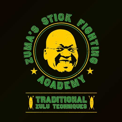 parody political jacob zuma stick fighting t-shirt