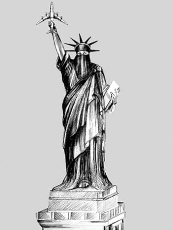 muslim lady liberty holding airliner 9/11
