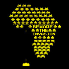 space invaders gaming political comment spoof t-shirt