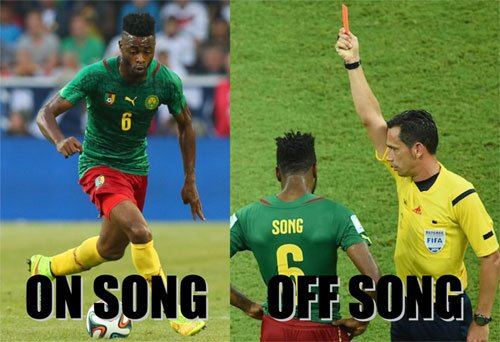 song cameroon red card fifa world cup 2014