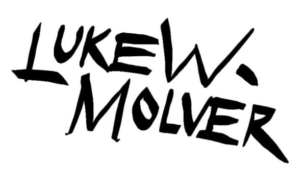 luke w molver signature for his designer t-shirt range