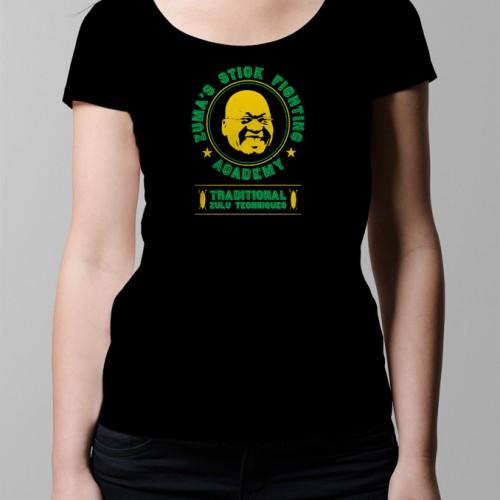 jacob zuma stick fighting academy political spoof anc t-shirt