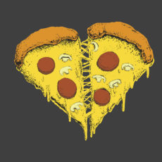 pizzaheart i love pizza food illustration t-shirt
