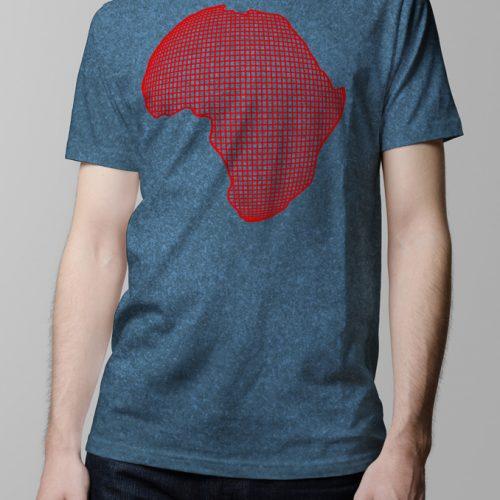 Africa Grid Art Men's Tshirt - denim tri-blend