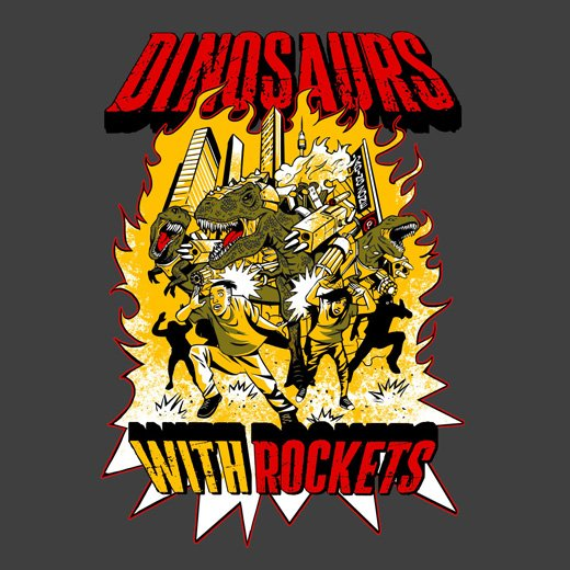 dinosaurs with rockets comic t-shirt