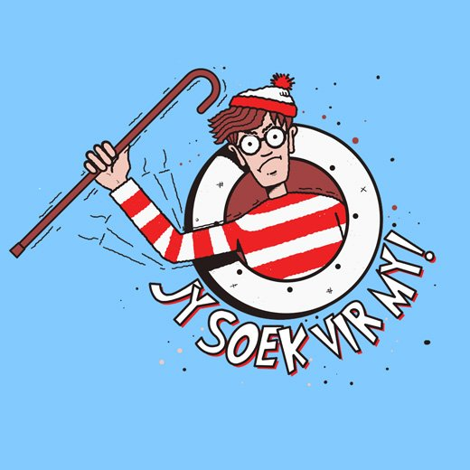 where's waldo wally afrikaans funny t-shirt