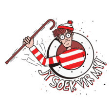 where's waldo wally funny afrikaans t-shirt
