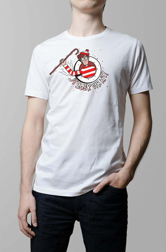 where's waldo wally funny afrikaans t-shirt