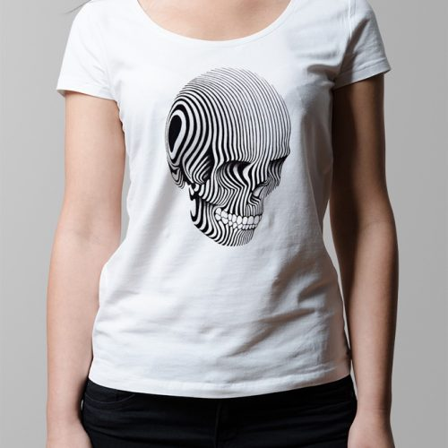 Contrast Skull Illustrated Ladies' T-shirt - white
