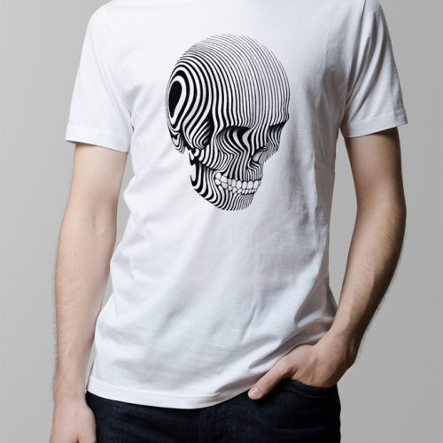 Contrast Skull Illustrated Men's T-shirt - white