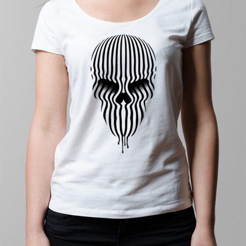 Bandwidth Skull Illustrated Ladies' T-shirt - white