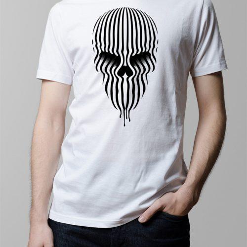 Bandwidth Skull Illustrated Men's T-shirt - white