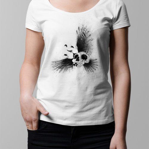 Crow Skull Illustrated Ladies' T-shirt - white