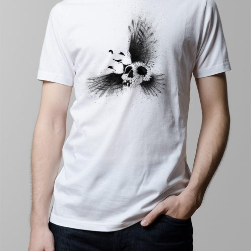 Crow Skull Illustrated Men's T-shirt - white