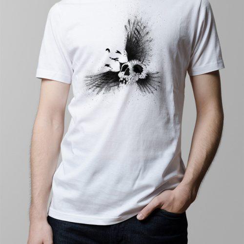 Crow Skull Illustrated Men's T-shirt - white