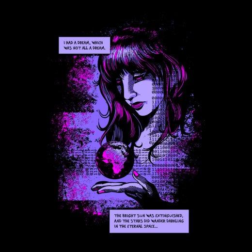 darkling space cyberpunk graphic black t-shirt (front)