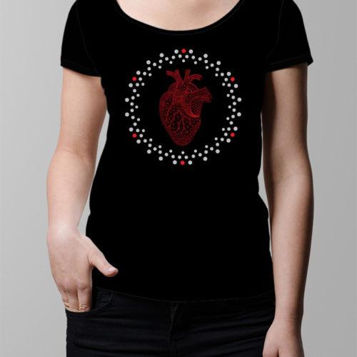 Heart Geometric Ladies' T-shirt - black