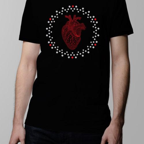 Heart Geometric Men's T-shirt - black