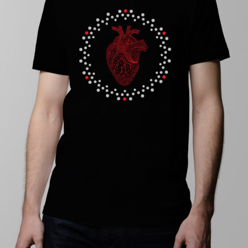 Heart Geometric Men's T-shirt - black