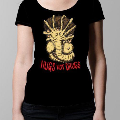 Hugs Not Drugs Ladies' T-shirt - Black
