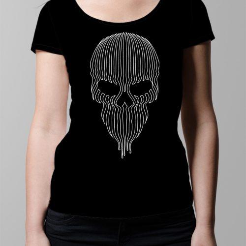 Striped Skull Ladies' T-shirt - Black