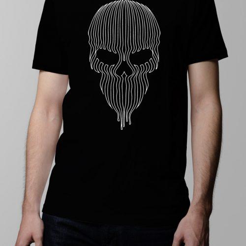 Striped Skull Men's T-shirt - Black