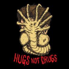 hugs not drugs black t-shirt