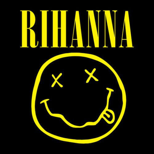rihanna nirvana black t-shirt