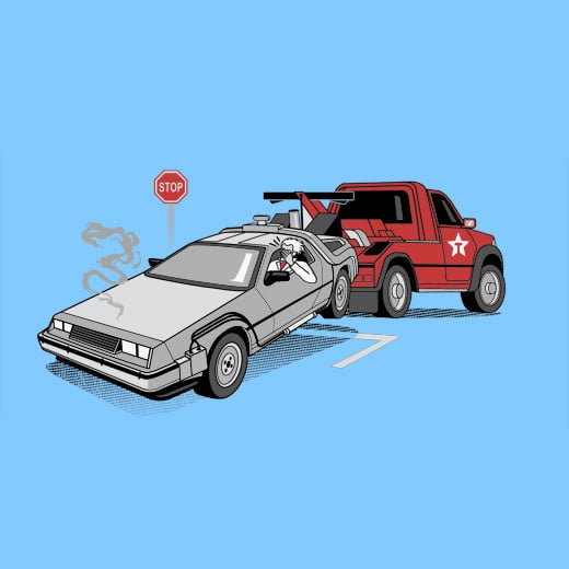 delorean back to the future sky tshirt