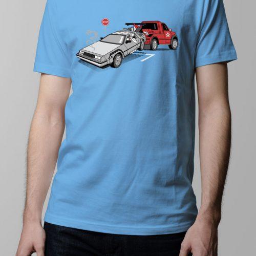 Delorean Back to the Future Men's T-shirt - sky blue