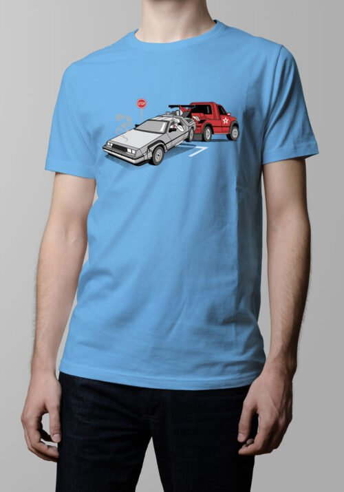 Delorean Back to the Future Men's T-shirt - sky blue