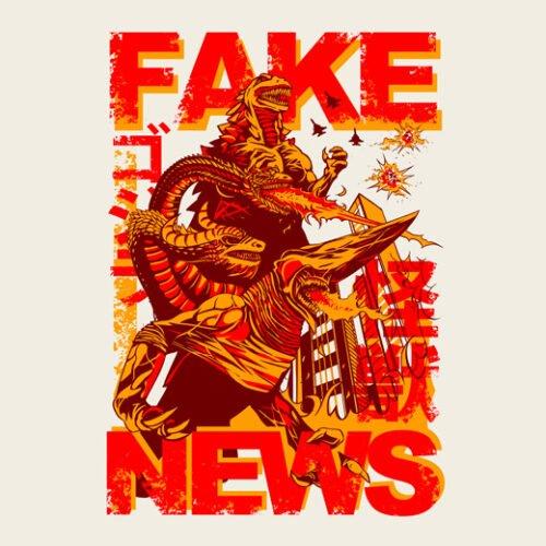 fake news kaiju natural tshirt