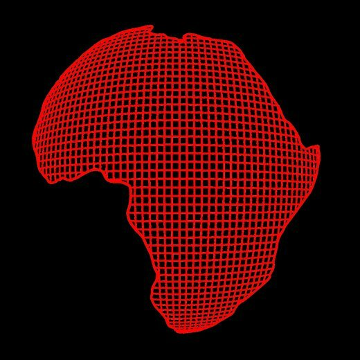 africa grid art black t-shirt