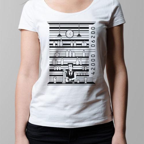 Barcode Drinking Ladies' T-shirt - white