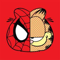 garfield spiderman red t-shirt
