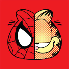 garfield spiderman red t-shirt