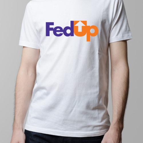 Fed Up Fedex Logo Spoof Men's T-shirt - white