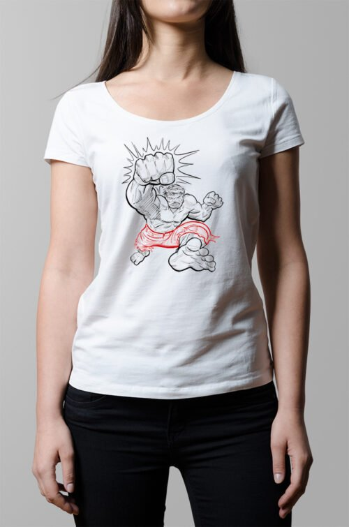 Hulk Smash Superhero Ladies T-shirt - white
