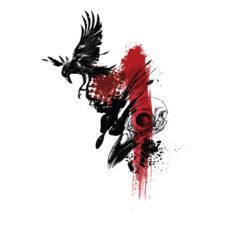 arisen inked black crow t-shirt