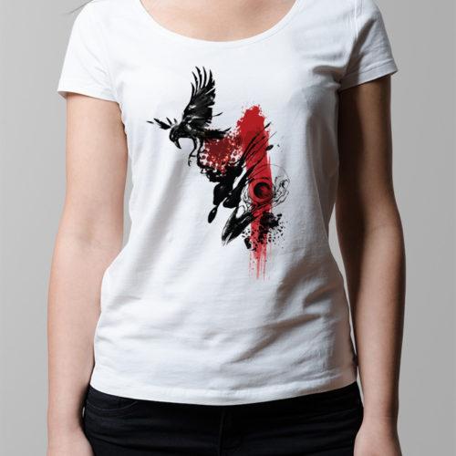 Arisen Inked Black Crow Ladies' T-shirt - white