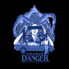stranger danger stranger things black t-shirt