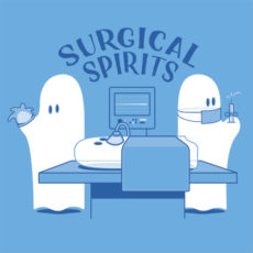surgical spirits funny blue t-shirt