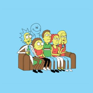 the simpsons rick and morty couch gag sky t-shirt